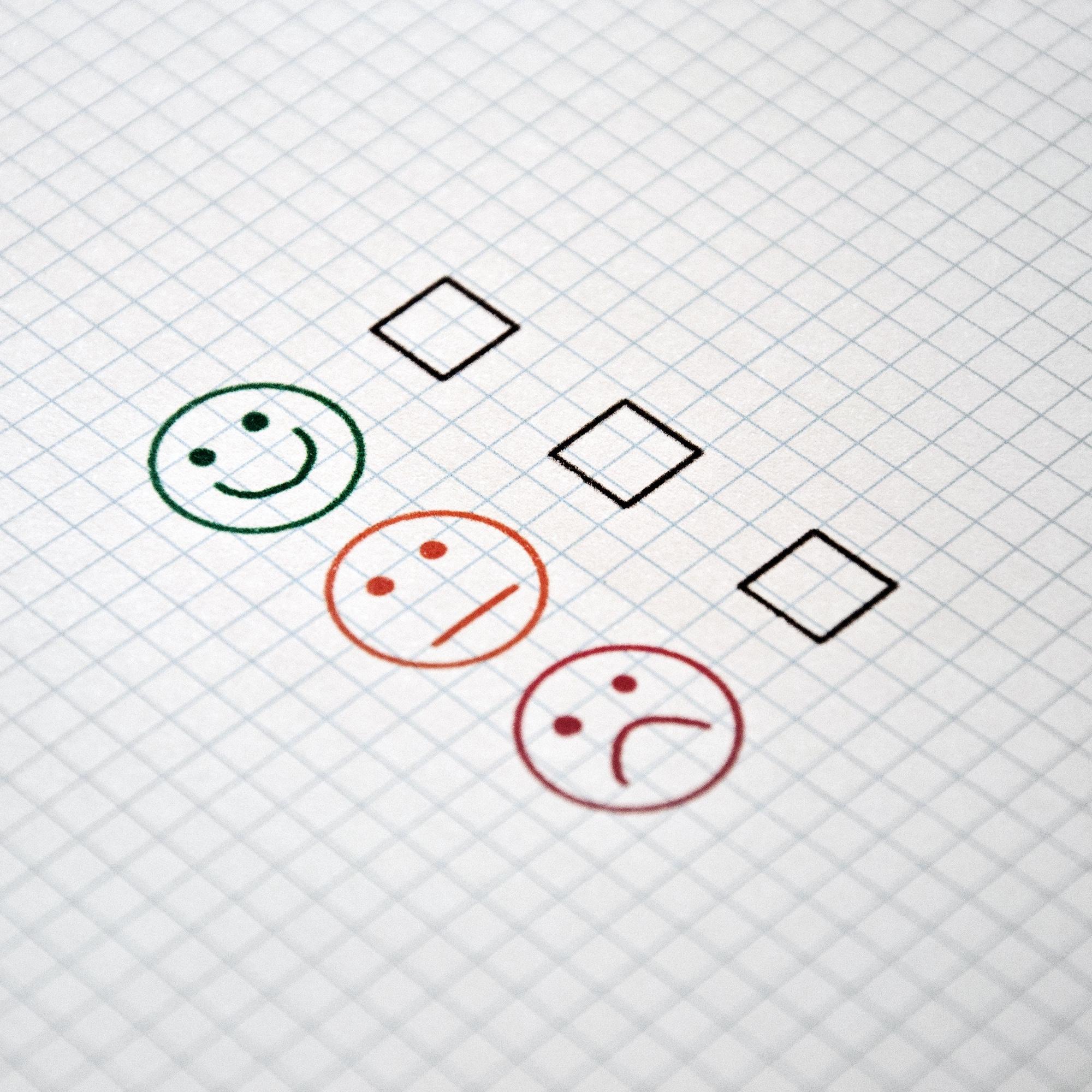 Foto: Checkliste mit Smileys