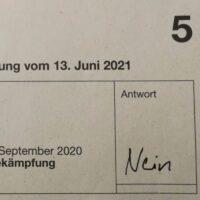 Foto: Stimmzettel von Ronnie Grob für die Volksabstimmung vom 13. Juni 2021