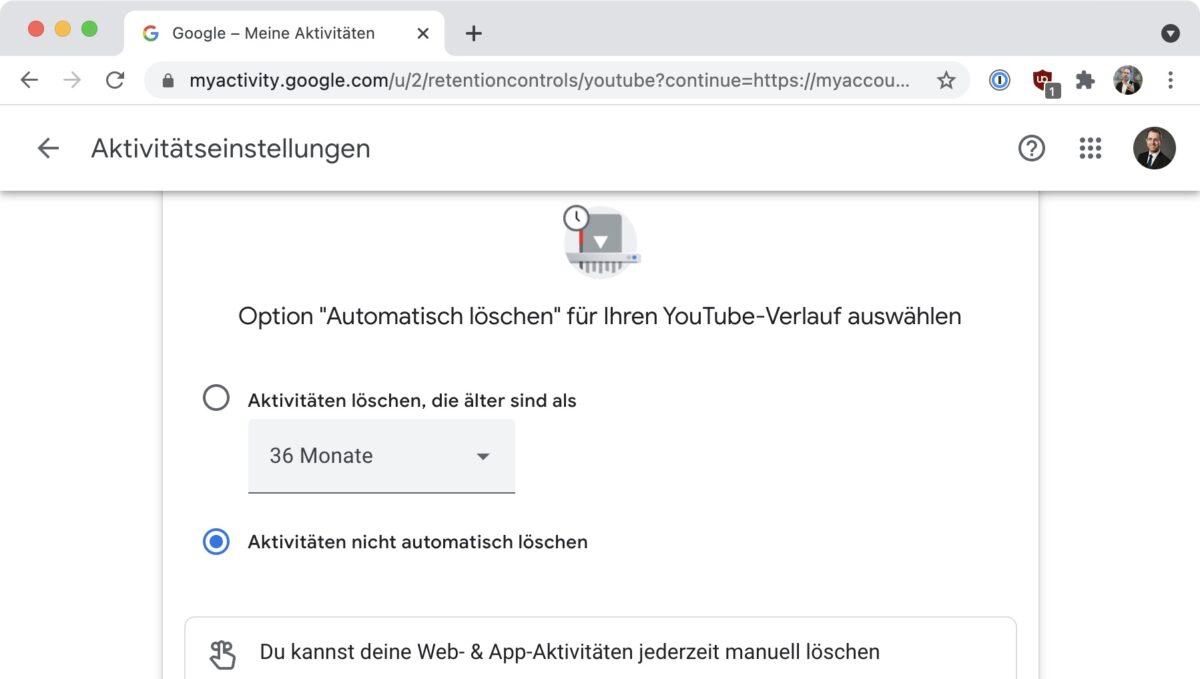Screenshot: «YouTube-Verlauf automatisch löschen» im «Privatsphärecheck» von Google