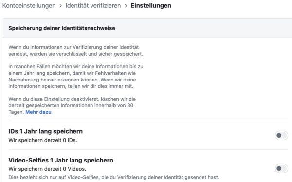 Screenshot: «Einstellungen zur Identitätsbestätigung» bei Facebook