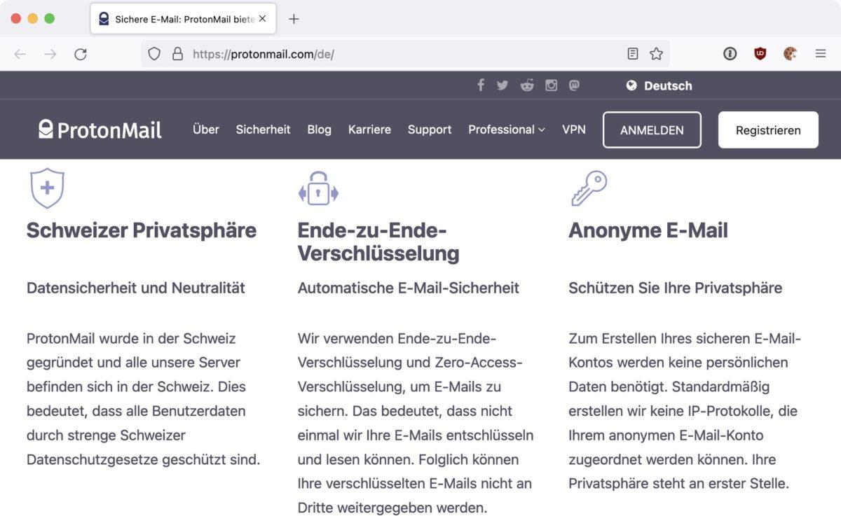 Screenshot: Werbeversprechen auf der Homepage von ProtonMail