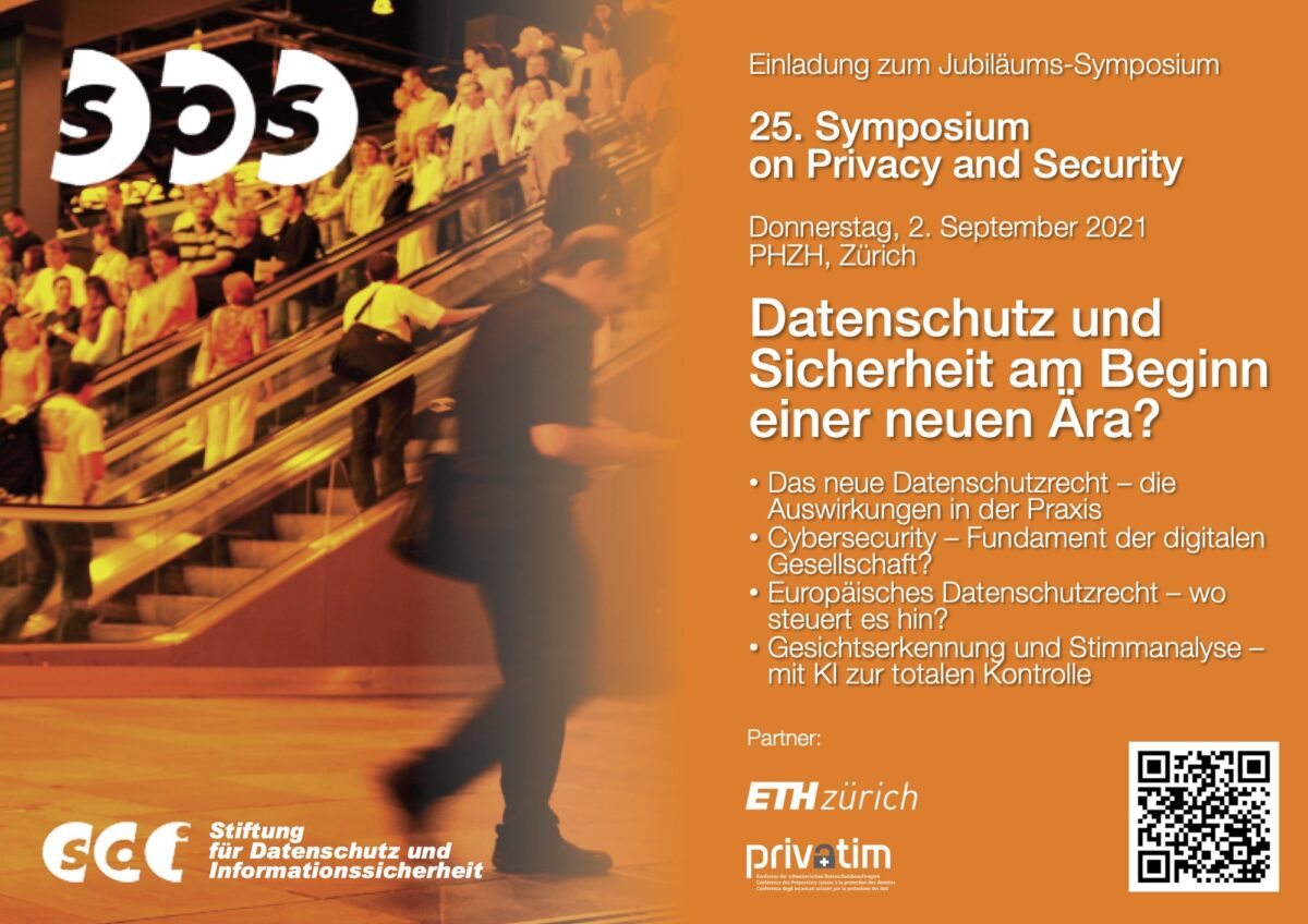 Dokument: Flyer für das 25. Symposium on Privacy and Security am 2. September 2021