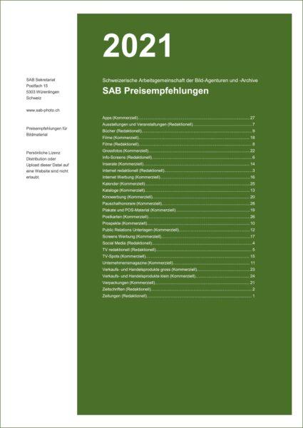 Titelseite: SAB-Preisempfehlungen 2021