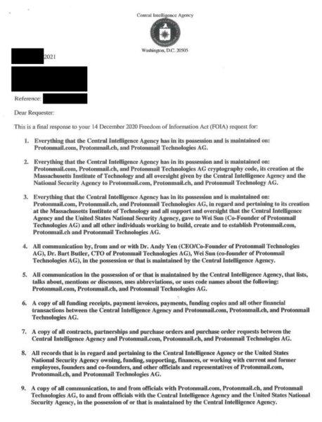 Dokument: Nicht-Auskunft der CIA betreffend ProtonMail (Seite 1)