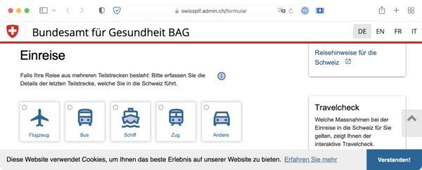 Screenshot: Einreiseformular des Bundesamtes für Gesundheit (BAG) mit Google Fonts-Icons