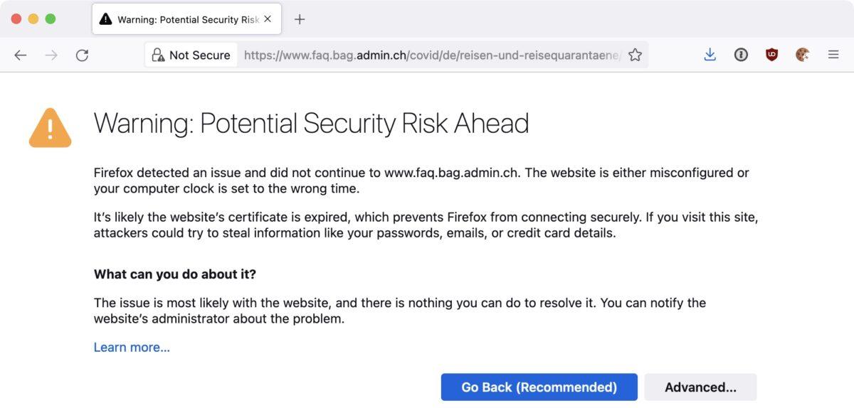 Screenshot: Browser-Warnmeldung für FAQ-Website des Bundesamtes für Gesundheit (BAG)